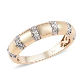 9K Yellow Gold SGL Certified Diamond (I2-I3/G-H) Band Ring 0.25 Ct.