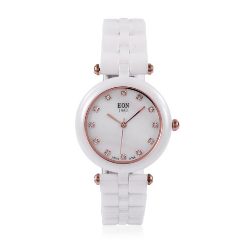 EON 1962 Swiss Movement White MOP Dial 3ATM Water Resistant Watch in Rose Gold Tone with White Ceram