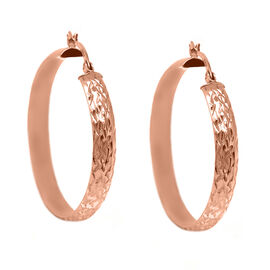 Hatton Garden Close Out Deal- Rose Gold Overlay Sterling Silver Hoop Earrings (with Clasp)