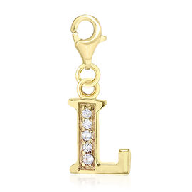 Simulated Diamond L Initial Charm in Yellow Gold Overlay Sterling Silver.
