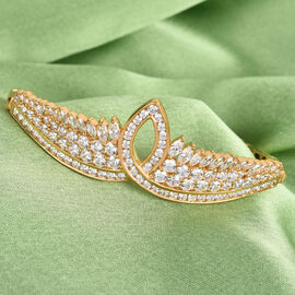 J Francis 14K Gold Overlay Sterling Silver Bracelet (Size 7.5) Made with SWAROVSKI ZIRCONIA 10.79 Ct, Silver wt 18.85 Gms