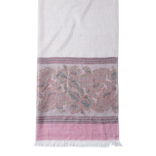 New Season-Wine Red and Beige Colour Floral Pattern Scarf (Size 180x70 Cm)