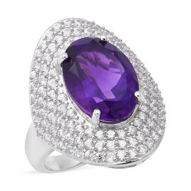 Zambian Amethyst (Ovl 14x10 mm), Natural White Cambodian Zircon Ring in Rhodium Overlay Sterling Sil