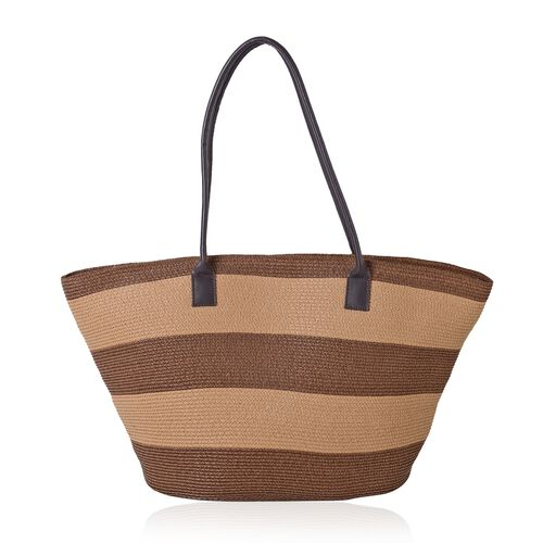 St. Tropez Brown and Beige Colour Stripe Pattern Tote Bag (Size 55x35x31x17 Cm) and Hat (Size 28x20 Cm)