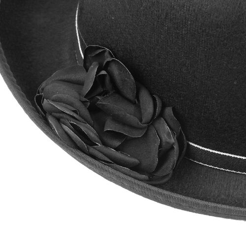 Designer Inspired-Black Colour Flower Adorned Hat (Size 16 Cm)