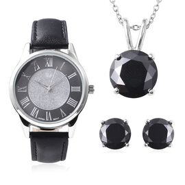 3 Piece Set - Simulated Black Spinel (Rnd) Pendant with Chain (Size 20), Stud Earrings (with Push Ba
