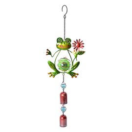 Home Decor - Solar Energy Powered Green Frog Hanging Windchime (Size 49.5x15 Cm)