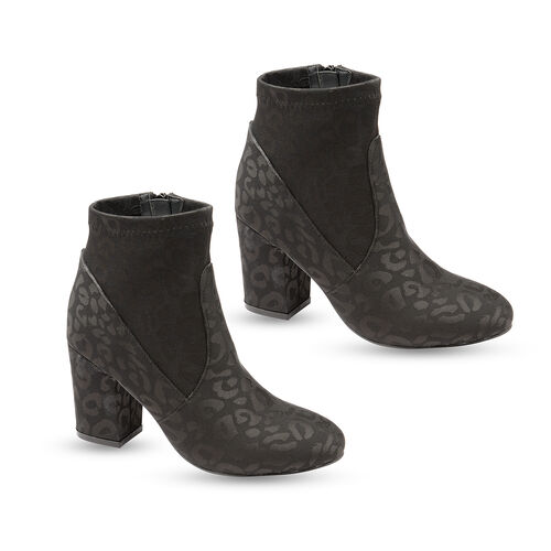 Ravel Black Stebbins Leopard-Print Heeled Ankle Boots (Size 8)