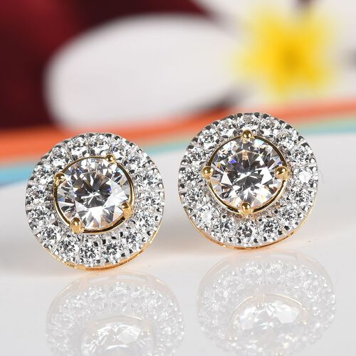 J Francis - 14K Gold Overlay Sterling Silver (Round) Stud Earrings (with Push Back) Made with SWAROVSKI ZIRCONIA 6.44 Ct.