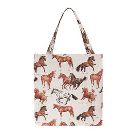 SIGNARE - Tapastry Collection -Runing Horse Free Flat ECO Shopping Bag (31 x 30 x 13.5 cms)