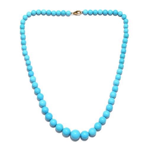 ILIANA 178 Ct AAAA Extremely Rare Sleeping Beauty Turquoise Beaded Necklace in 18K Gold 18 Inch