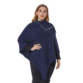 Ladies Knitted Cape Neck Poncho with Beads and Tassels (Size 100x90 Cm) - Navy