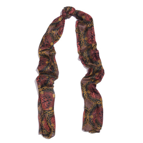 Designer Inspired - 100% Mulberry Silk Golden, Red and Multi Colour Handscreen Jewellery Printed Scarf (Size 200X100 Cm)