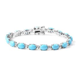 16 Ct Sleeping Beauty Turquoise and Zircon Tennis Design Bracelet in Rhodium Plated Silver 8 Inch