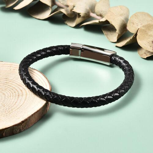 "Personalise Engravable Black Leather Bracelet 8"", Steel"