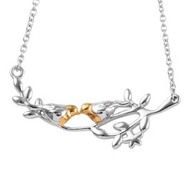 Platinum and Yellow Gold Overlay Sterling Silver Robin Bird Couple Necklace (Size 18)
