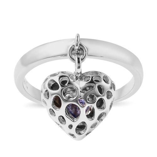 RACHEL GALLEY Angel Heart Collection - Tanzanite Lattice Heart Charm Ring in Rhodium Overlay Sterlin