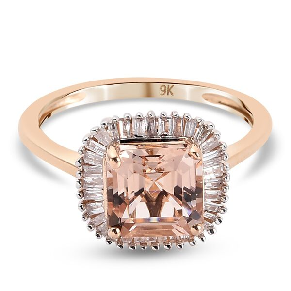 9K Rose Gold Marropino Morganite (Asscher Cut ) and Diamond Halo Ring 2.00 Ct.
