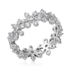 ELANZA Simulated Diamond Floral Band Floral Band Ring in Rhodium Plated Sterling Silver