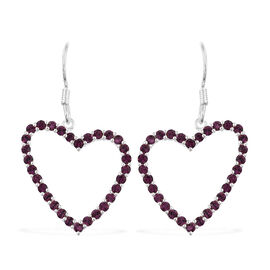 J Francis Crystal from Swarovski - Amethyst Colour Crystal (Rnd) Heart Hook Earrings in Sterling Silver