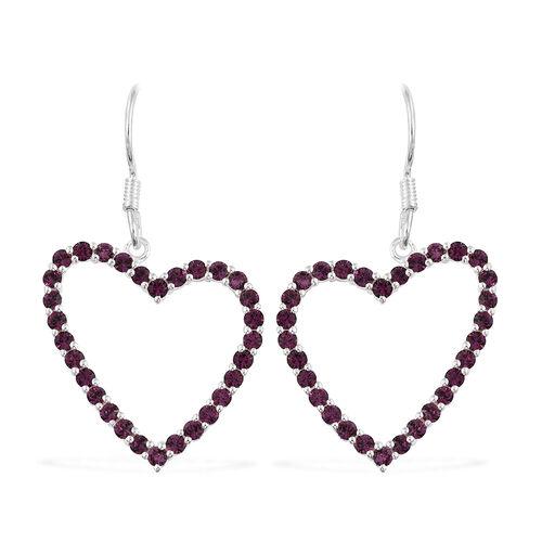J Francis Crystal from Swarovski - Amethyst Colour Crystal (Rnd) Heart Hook Earrings in Sterling Sil