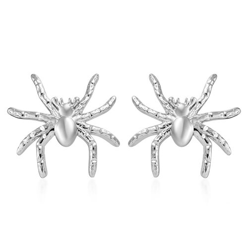 Platinum Overlay Sterling Silver Spider Earrings (With Push Back), Silver wt 4.63 Gms.