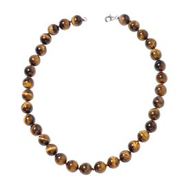 Yellow Tiger Eye (Rnd 11 - 13 mm) Necklace (Size 18) in Rhodium Overlay Sterling Silver 400.00 Ct.