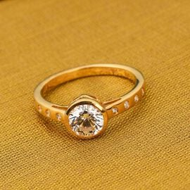 J Francis 14K Gold Overlay Sterling Silver Ring Made with SWAROVSKI ZIRCONIA 1.77 Ct.