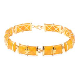 51.25 Ct Yellow Jade Chinese Style Station Bracelet in Gold Plated Silver 8.50 Grams 7.5 Inch