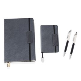4 Piece Set - A5,A6 Notebook (Size 14.5x21.3x8 and 9x14x0.8 Cm) and Crystal Filled Pens (x2) - Black