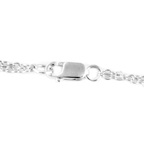 Black Diamond (Rnd) Necklace (Size 18) in Rhodium Plated Sterling Silver 0.500 Ct, Silver wt 8.80 Gms.