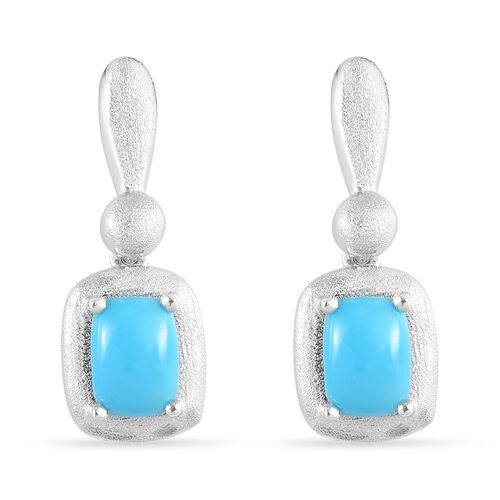 1.50 Ct Arizona Sleeping Beauty Turquoise Drop Solitaire Earrings in Platinum Plated Silver