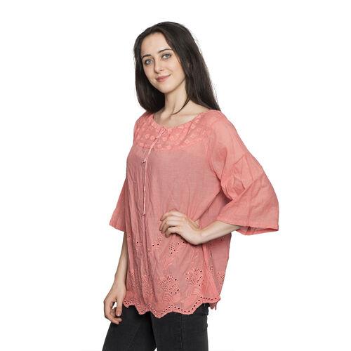 100% Cotton - Italian Punto Tagliato Technique Light Pink Colour Summer Top (Free Size)