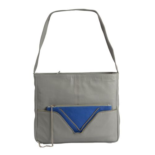 PREMIER COLLECTION- 100% Genuine Top Grain Leather RFID Blocker Grey and Royal Blue Colour Handbag W