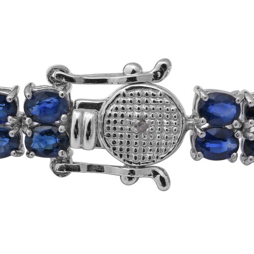Kanchanaburi Blue Sapphire and Diamond Bracelet (Size 7.5) in Rhodium Overlay Sterling Silver 16.39 Ct, Silver wt 10.18 Gms