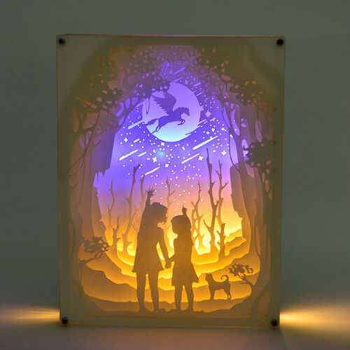 Home Decor - Fairy Tale Lighting with Paper Cut 3D Two Children Motif (Size 20.8x15.8x4.2 Cm)