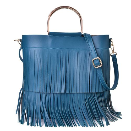 2 Piece Set - Blue Colour Large Handbag with Fringes (Size 30X27X8 Cm) and Small Handbag (Size 22X18X4 Cm) with Adjustable and Removable Shoulder Strap