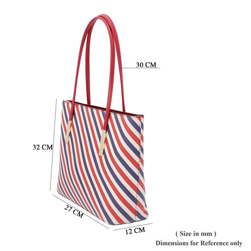 Diagonal Stripe Pattern Tote Bag with Zipper Closure and External Pocket (Size 32x11x26 Cm) - Red, Navy and Multi