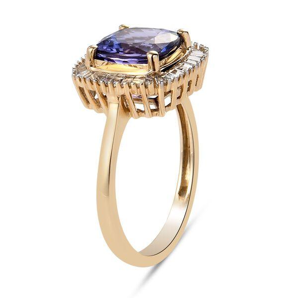 9K Yellow Gold Tanzanite and Diamond Ring 2.750 Ct.