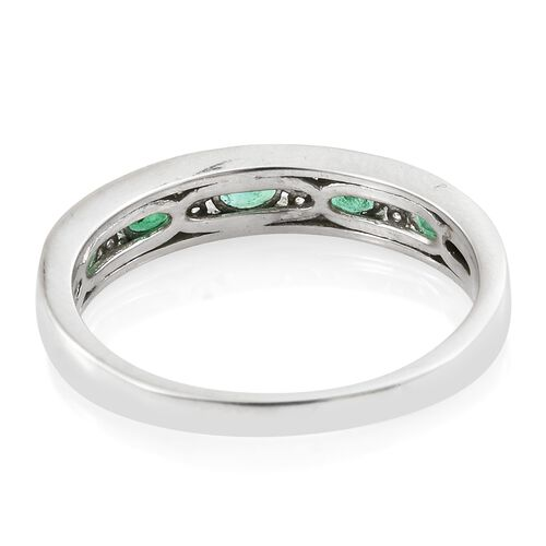 Limited Edition- Premium Santa Terezinha Emerald (Ovl), Natural Cambodian Zircon Half Eternity Ring in Platinum Overlay Sterling Silver 1.000 Ct.