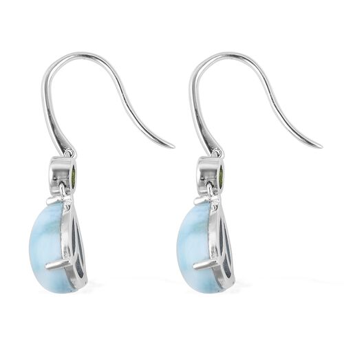 Larimar (Pear 12x8 mm), Russian Diopside Hook Earrings in Rhodium Overlay Sterling Silver 8.360 Ct.