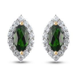 Russian Diopside and Natural Cambodian Zircon Stud Earrings (with Push Back) in 14K Gold Overlay Ste