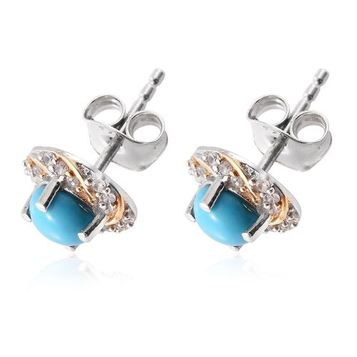 Arizona Sleeping Beauty Turquoise (Rnd), Natural Cambodian Zircon Stud Earrings (with Push Back) in Platinum and Yellow Gold Overlay Sterling Silver 1.150 Ct.