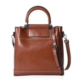 100% Genuine Leather Tan Colour Tote Bag with Detachable Shoulder Strap (Size 27x10x28 Cm)