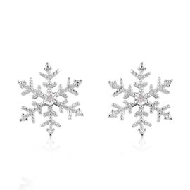 Diamond Snoflake Stud Earrings in Platinum Overlay Sterling Silver