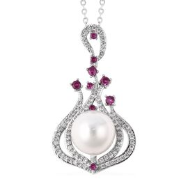 White Shell Pearl (Rnd), Simulated Diamond and Fuchsia Colour Austrain Crystal Pendant with Chain (S