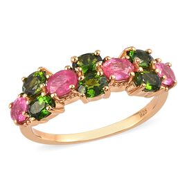 Russian Diopside and Pink Ruby Ring in 14K Gold Overlay Sterling Silver 1.75 Ct.
