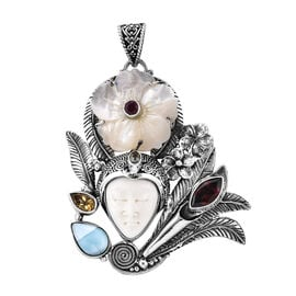 Royal Bali 22.94 Ct OX Carved Bone Face and Multi Gemstones Pendant in Sterling Silver 19.1 Grams