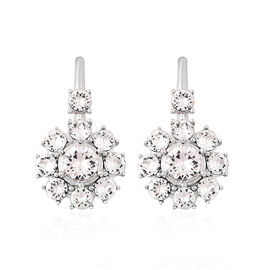 J Francis Crystal from Swarovski White Crystal (Rnd) Hook Earrings in Rhodium Overlay Sterling Silve