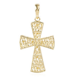 Ottoman Treasure 9K Yellow Gold Diamond Cut Cross Pendant